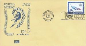 UN #C10 13c AIR MAIL FDC 1963 - Kolor Kover