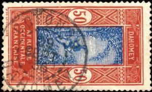 DAHOMEY - 1936 -  CAD DOUBLE CERCLE COTONOU / DAHOMEY SUR N°74