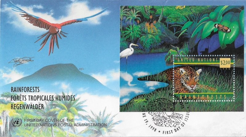 United Nations FDC Rainforest Jaguar 1998