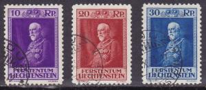 Liechtenstein 1933 Prince Francis I Complete (3) VF/Used.  Strong Color