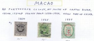 MACAO EARLY ISSUES 1884-1887 SCV $40.00 @14% OF CAT VALUE