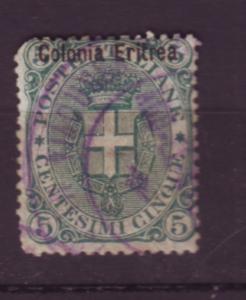 J19800 Jlstamps 1892 eritrea used #3 ovpt