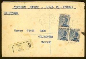 LIBYA 1919 REGISTERED Tripoli to England 25c Sc 8 x3 Cover
