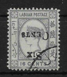 LABUAN SG50a 1892 6c ON 16c GREY INV OVPT USED