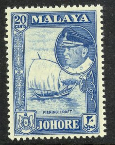 MALAYA JOHORE 1960 20c DHOW Pictorial Scott 164 MNH
