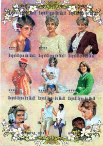 Mali 1997 Diana Princess of Wales 1961-1997 Shlt(9) Sc 912 IMPERF