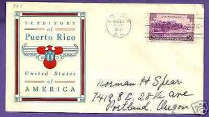 801  PUERTO RICO 3c 1937 AT SAN JUAN, LINPRINT FIRST DAY COVER, AD...