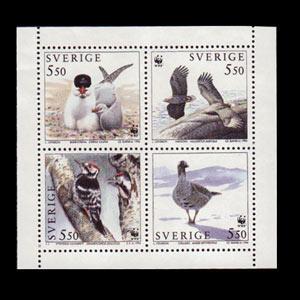 SWEDEN 1994 - Scott# 2100a WWF-Birds Set of 4 NH