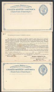 Scott UX6, Three Postal Cards, Unused, Postal Cards