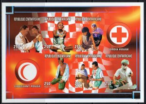 Central African Republic 1996 Red Cross & Crescent Sheetlet (6) IMPERFORATED