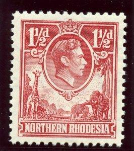 Northern Rhodesia 1938 KGVI 1½d carmine-red superb MNH. SG 29. Sc 29.
