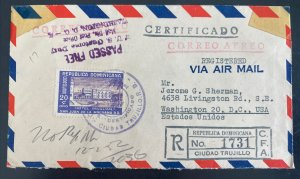 1952 Ciudad Trujillo Dominican Rep Airmail Censored Cover To Washington DC Usa