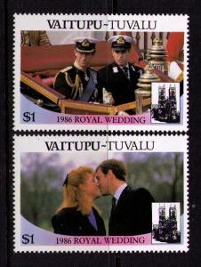 TUVALU VAITUPU Sc# 66 MNH FVF Set of 2 Wedding Andrew Sarah