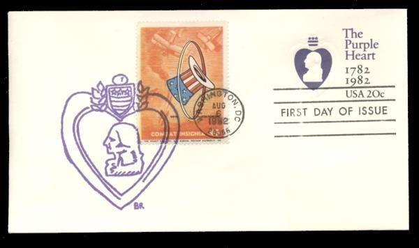 94th Squadron Poster Stamp on Purple Heart #U603 FDC