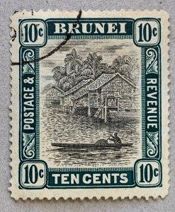 Brunei 1907 10c used.  Scott 25, CV $5.00, SG 29