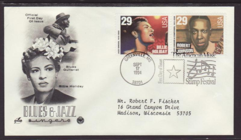 US Billie Holiday Blues and Jazz 1994 PCS Typed FDC BIN