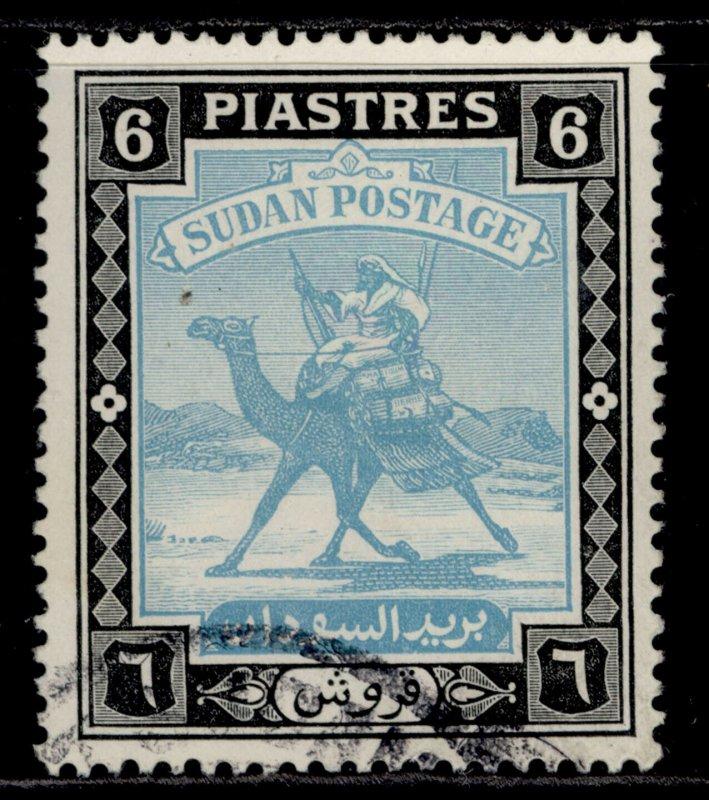 SUDAN GVI SG107, 6p greenish blue & black, FINE USED.