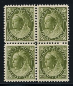 CANADA: Sc.#84  **  20¢ Olive Green, STUNNING block of 4, VF-XF and NH. RARE...