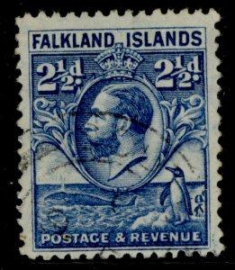 FALKLAND ISLANDS GV SG119, 2½d blue, FINE USED.