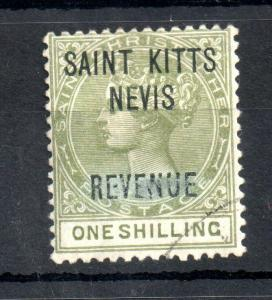 St Kitts & Nevis QV 1885 /- olive Revenue very fine used SG#R6 WS13152