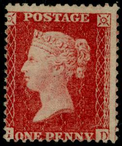SG40, 1d rose-red, LC14, UNUSED. Cat £50. GD