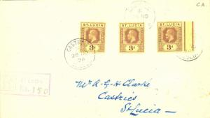 Saint Lucia 3d KGV (3) 1926 Castries, St. Lucia Registered Local use.