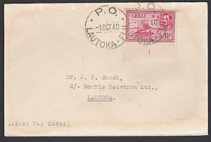 FIJI 1940 (1 Oct) GVI  1d die 2 with plate # - on FDC Lautoka cds...........F918