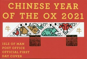 Isle of Man IOM Year of Ox Stamps 2021 FDC Chinese Lunar New Year 4v Strip