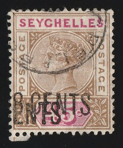 SEYCHELLES 1896 '18 CENTS' on QV 45c, ERROR DOUBLE with CERTIFICATE RARE!