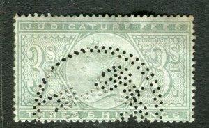 BRITAIN; 1870s early classic QV Revenue issue Judicature Fees 3s. value