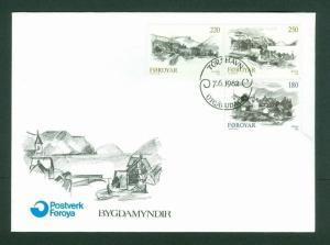 Faroe Islands. FDC Cachet 1982. Complete Set. Faroe Towns Sc.# 83-84-85.