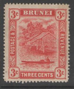 BRUNEI SG38 1916 3c SCARLET (II) MTD MINT