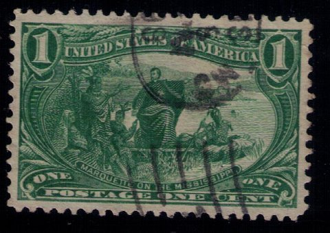 US Sc 285 Used 1c Dark ylw Green VF