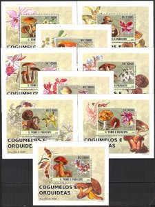 {070} Sao Tome & Principe 2008 Mushrooms Flowers Orchids 9 S/S Deluxe MNH**