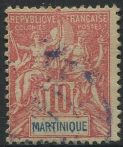 Martinique -Scott 39 - Navigation - 1892 - FU- 10c Stamp