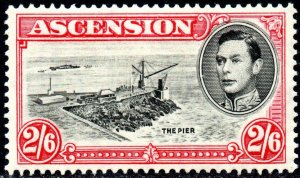 1938 Ascension Sg 45 2s6d black and deep carmine (perf 13½) Mounted Mint