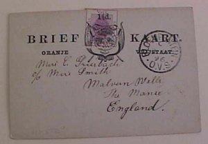 ORANGE FREE STATE 1896 TO ENGLAND