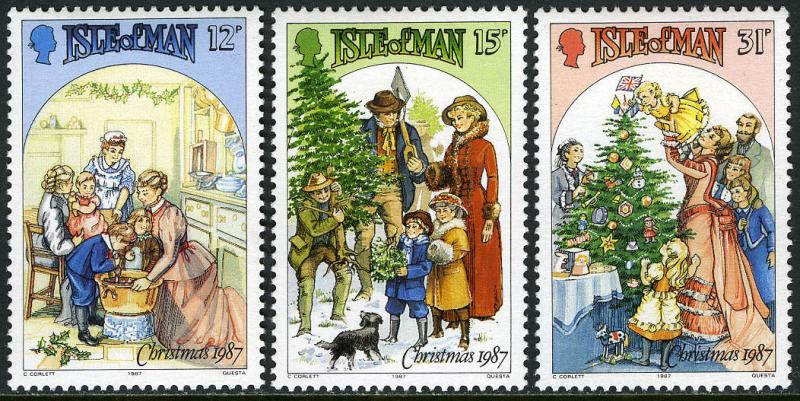 Isle of Man 344-346,MI 348-350,MNH. Christmas.Victorian family scenes.Dog, 1987