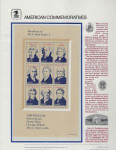 2216-2219 Ameripex 86 Commemorative Panels (4) P.O. Sealed Selling At Face