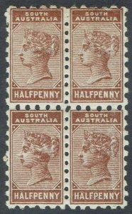 SOUTH AUSTRALIA 1883 QV 1/2D BLOCK */** COMPOUND PERF 10 X11.5 - 12.5
