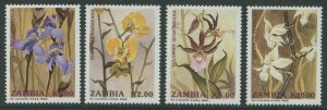 ZAMBIA: ORCHIDS 1992 - MNH SET OF FOUR (GO212-PB)
