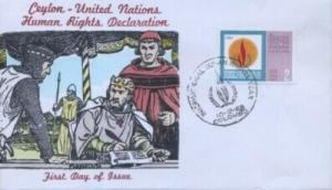 CEYLON - UN HUMAN RIGHTS FDC 1968 - Overseas Mailers