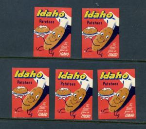 5 VINTAGE IDAHO POTATOES POSTER STAMPS (L603) THE FINEST GROW IN IDAHO