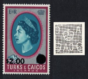 Turks and Caicos Queen Elizabeth II Ovpt $2 Watermark variety 1969 MNH SG#311