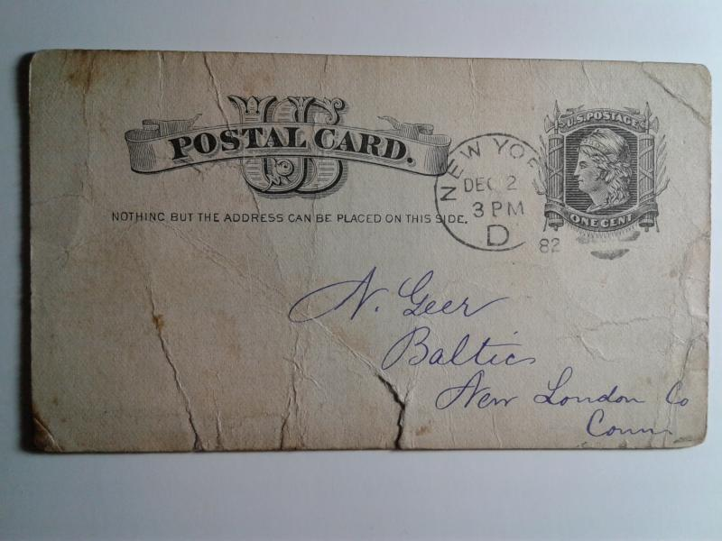 SCOTT # UX 7 USED POST CARD CANCELLED 1882 AMAZING !!