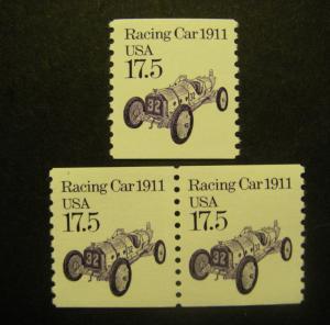 Transportation Coils III, Scott 2262, 17.5c Racing Car, Pair & single, MNH