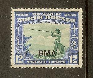 North Borneo, Scott #215, Overprinted 12c Murut with Blowgun, MLH