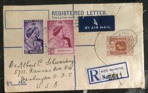 1949 GPO Mauritius Airmail Cover To Washington DC USA Silver Wedding Sc #229 30