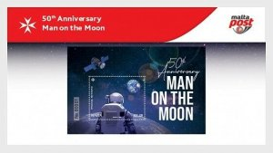 Malta stamps 2019. 50th anniversary of Man on the moon - presentation