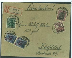 POLAND Germany Cover DANZIG Gdansk Registered 1920 Dusseldorf {samwells}F199